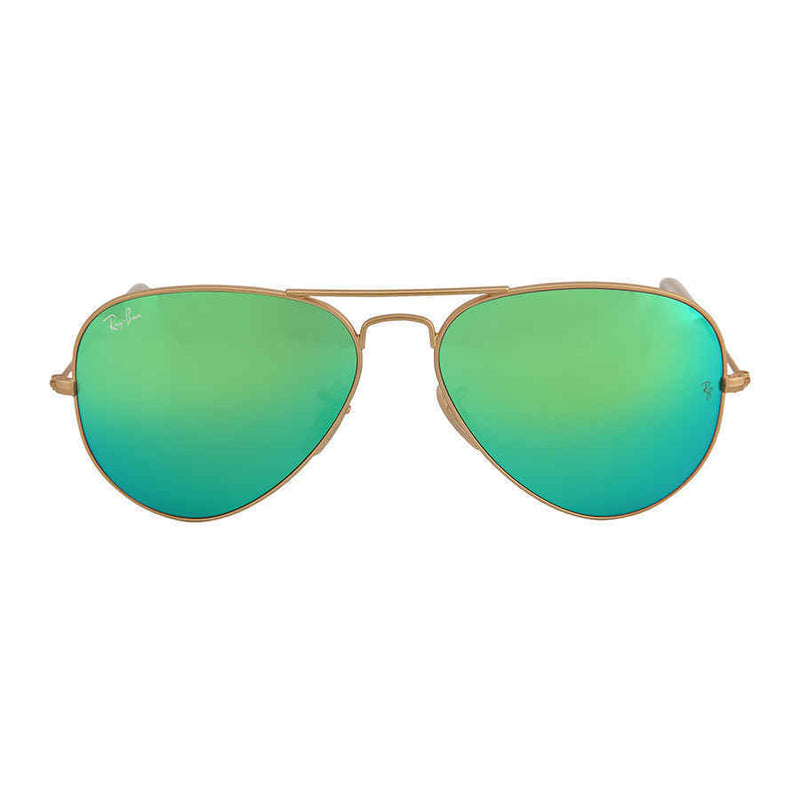 Ray Ban Aviator Arista Green with Mirrored Lenses 58 mm Sunglasses RB3025 112/19