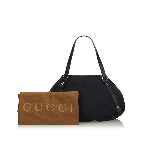 Pre-Loved Gucci Black Canvas Fabric GG Pelham Tote Bag ITALY