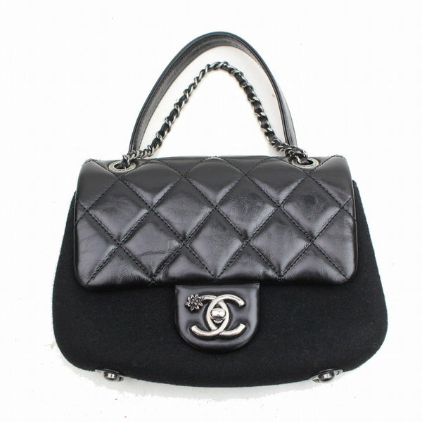 Authentic Chanel Hand Bag Quilted Chain Hand Bag Black Calf (SHC7-11085)