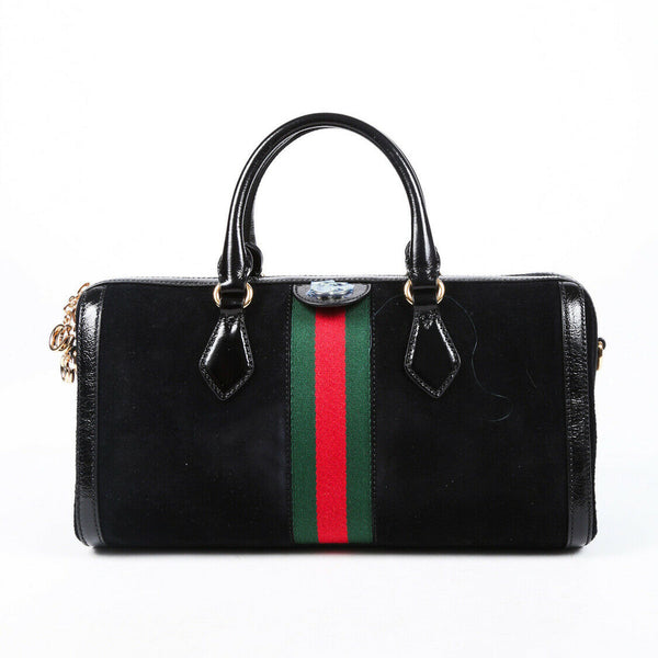 Gucci Bag Ophidia Medium Black Suede Leather Web Stripe
