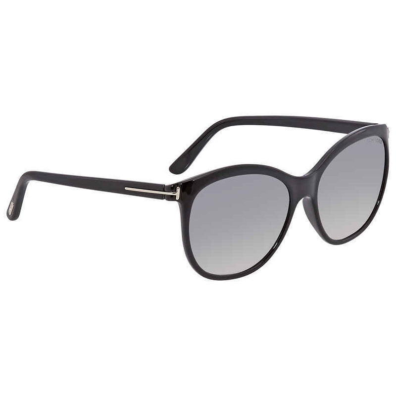 Tom Ford Ladies Shiny Black Butterfly Sunglasses FT0568-01C FT0568-01C