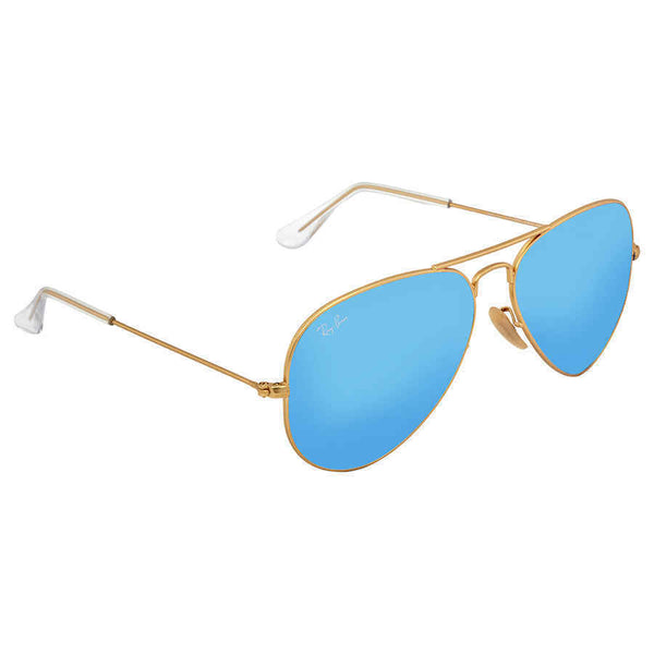 Ray-Ban Aviator Metal Matte Gold Frame Crystal Blue Mirrored Lenses Large
