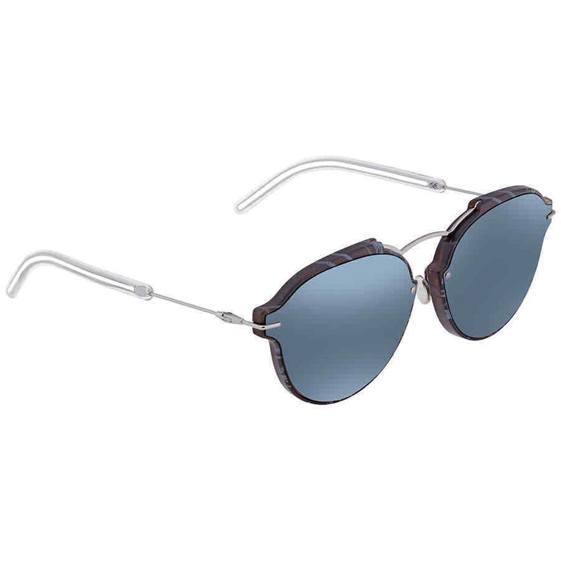 Dior Grey Light Blue Geometric Ladies Sunglasses DIORECLAT GNO/T7 60