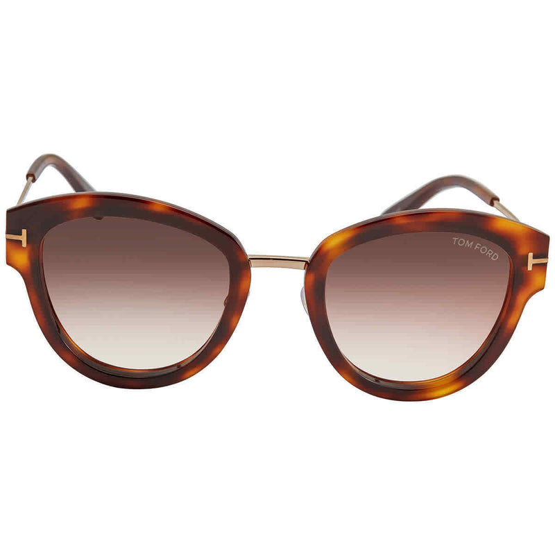 Tom Ford MIA Brown Gradient Cat Eye Ladies Sunglasses FT0574 52G 52