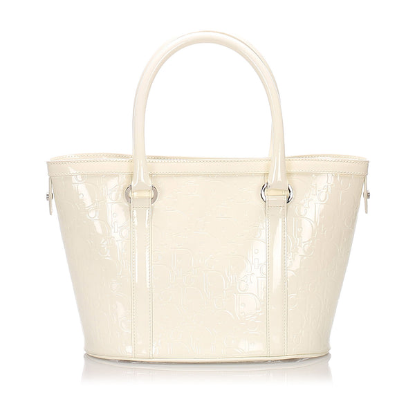 Pre-Loved Dior White Patent Leather Oblique Tote Bag Italy