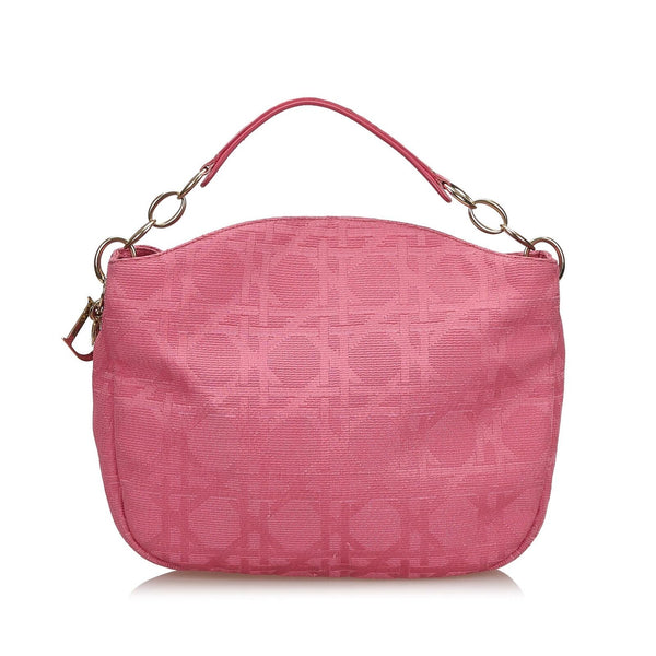 Pre-Loved Dior Pink Canvas Fabric Cannage Shoulder Bag Italy