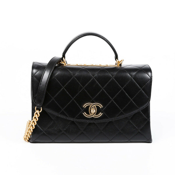 Chanel Bag Large Black Quilted Leather CC Satchel