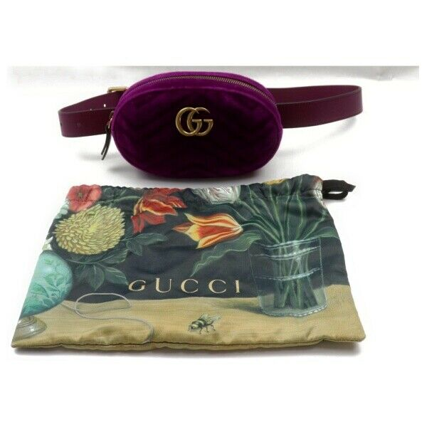 Authentic Gucci Waist Pouch Gg Marmont Purple Velvet (SHC7-11113)