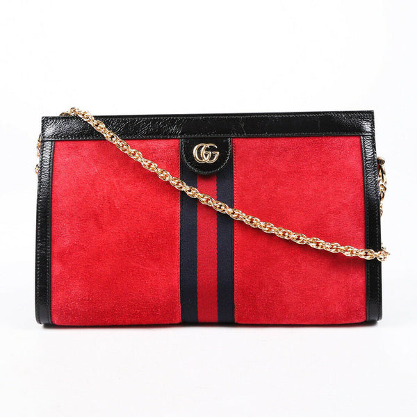 Gucci Bag Ophidia Medium Red Suede GG Sylvie Web