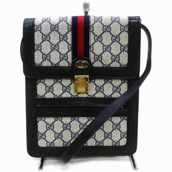 Gucci Shoulder Bag Dark Blue PVC (SHC7-11115)