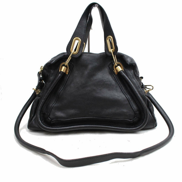 Authentic Chloe Shoulder Bag Paraty Black Leather (SHC7-11111)