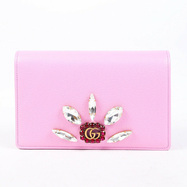 Gucci Bag GG Wallet on Chain Pink Leather Crystal