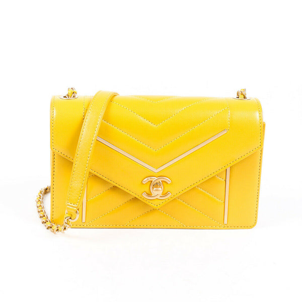 Chanel Bag Small Reversed Chevron Lambskin Yellow Flap
