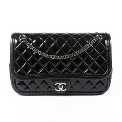 Chanel Bag Large Black Quilted Patent Leather Flap