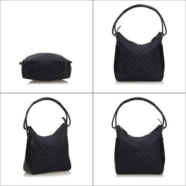 Pre-Loved Gucci Black Canvas Fabric GG Shoulder Bag Italy