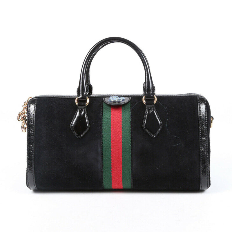 Gucci Bag Ophidia Medium Black Suede Web Stripe