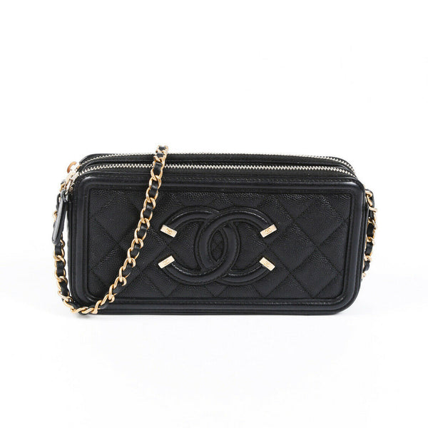 Chanel Bag Caviar Filigree Clutch Black Quilted CC