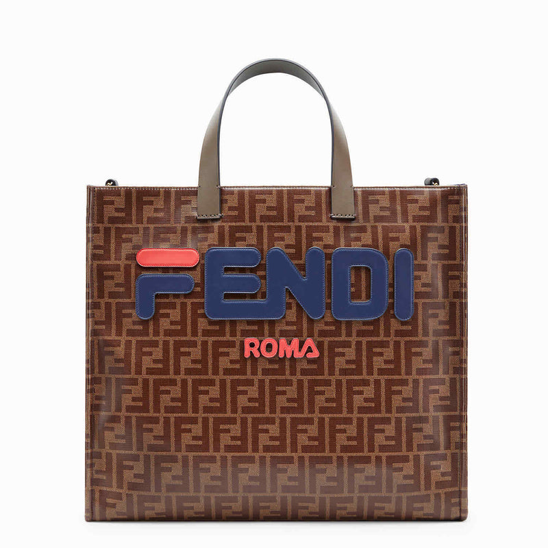 Fendi Ladies Tote bag Fendi Fila Brown/Blue Fd Fila Canvas Tote