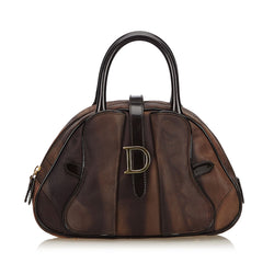 Pre-Loved Dior Brown Light Nylon Fabric Marbled Saddle Dome France