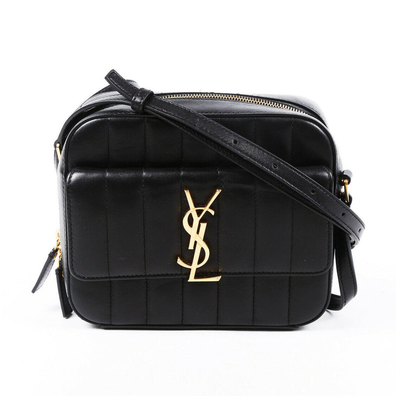 Saint Laurent Bag Vicky Camera Black Matelasse Lambskin YSL