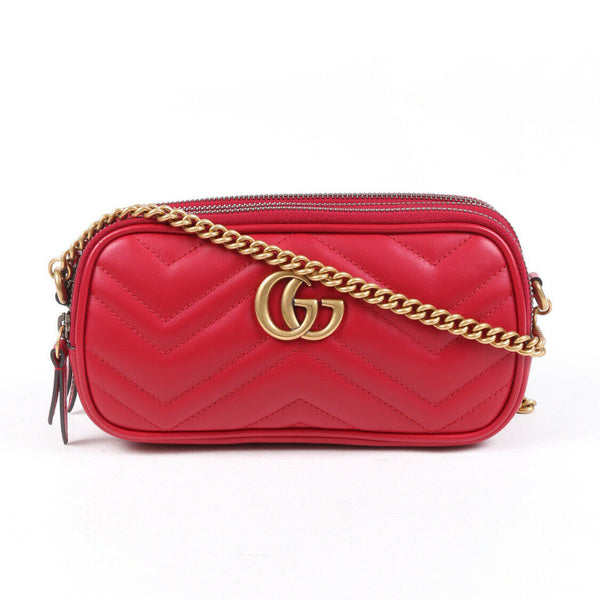 Gucci Bag Marmont Mini Red Matelasse GG Leather Crossbody