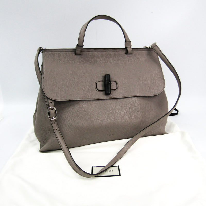 Gucci Beige Leather Bamboo Daily Top Handle Bag (SHA-35338)