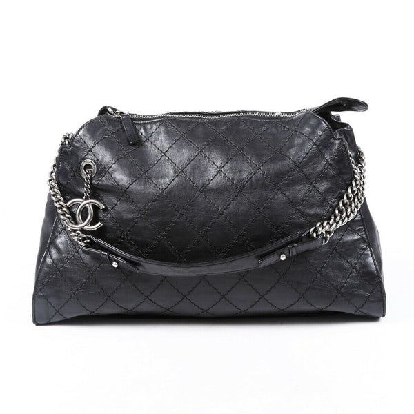 Chanel Bag Crave Black Leather Diamond Stitched Tote