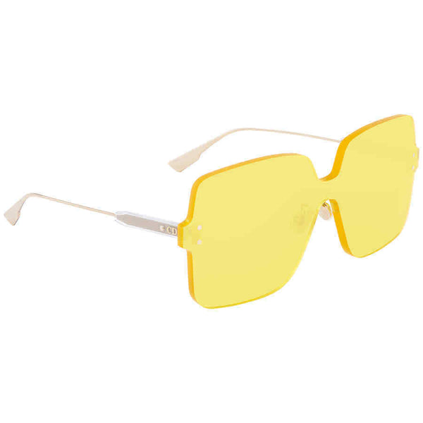 Dior Yellow Square Ladies Sunglasses DIORCOLORQUAKE140G DIORCOLORQUAKE140G