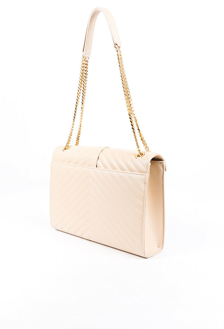 Saint Laurent Bag Large Envelope Beige Chevron Matelasse YSL