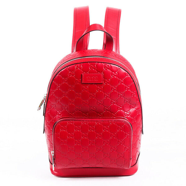 Gucci Backpack Signature GG Red Leather