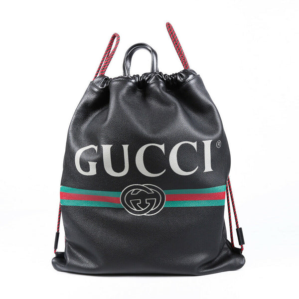 Gucci Backpack Black Leather Logo Drawstring