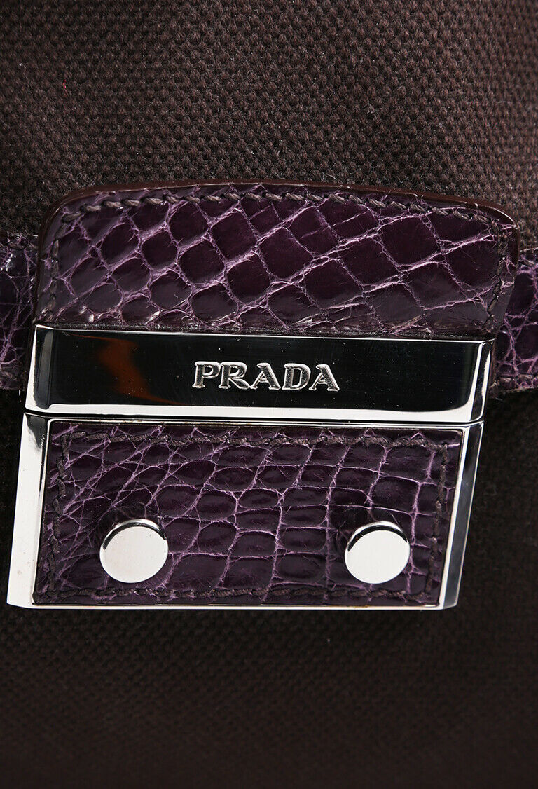 Prada Canvas Crocodile Trimmed Shoulder Bag