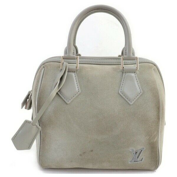 Louis Vuitton Hand Bag Speedy Cube Gray Suede Leather  (SHC7-11080)