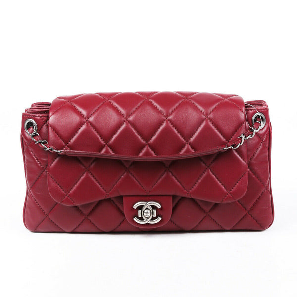 Chanel Bag Red Quilted Lambskin Accordion Flap