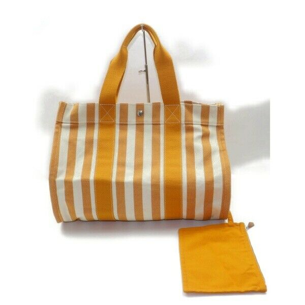 Authentic Hermes Tote Bag Cannes Yellow Canvas (SHC7-11037)