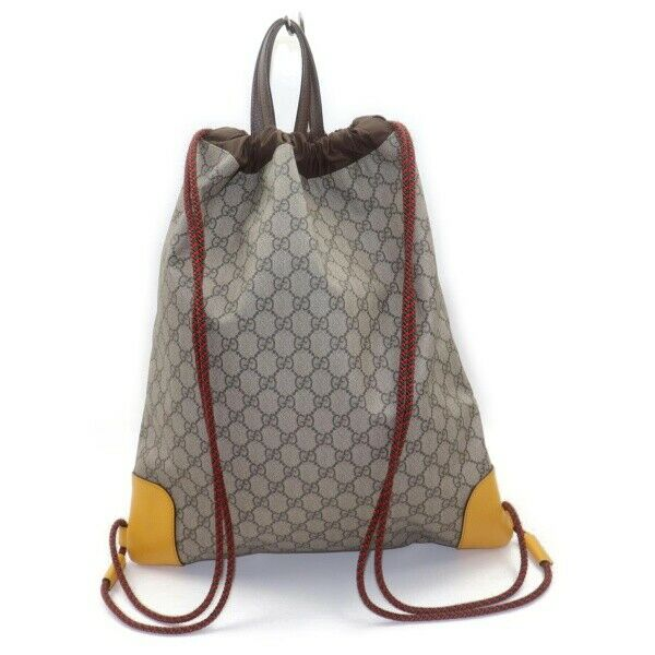 Authentic Gucci Back Pack Drawstring Back Pack Beige PVC (SHC7-11065)