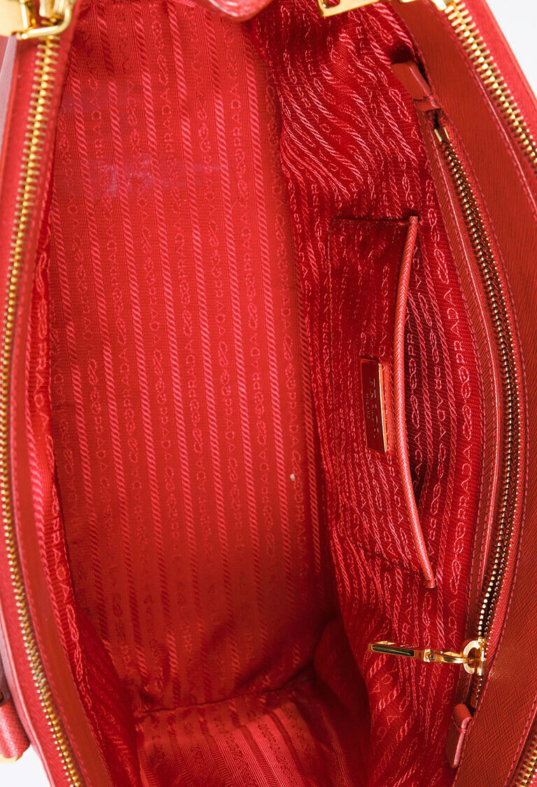 Prada Bag Lux Double Zip Galleria Large Red Leather Tote