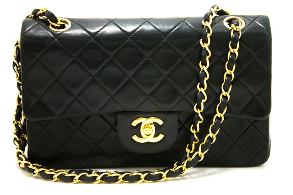 Chanel 2.55 Black Double Chain Leather Handbag
