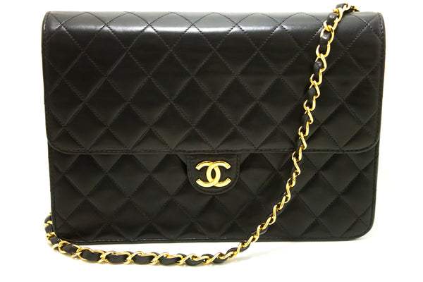 Chanel Black Quilted Lambskin Leather Flap Bag (SHB-10183)
