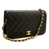 Chanel Black Quilted Lambskin Leather Single Flap Bag (SHB-10122)