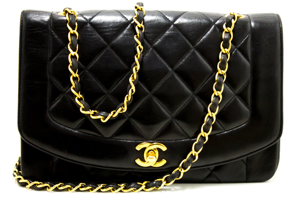 Chanel Black Quilted Lambskin Diana Classic Flap (SHB-10094)