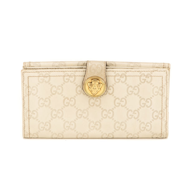 Gucci White Monogram Leather Wallet (Authentic Pre Owned)