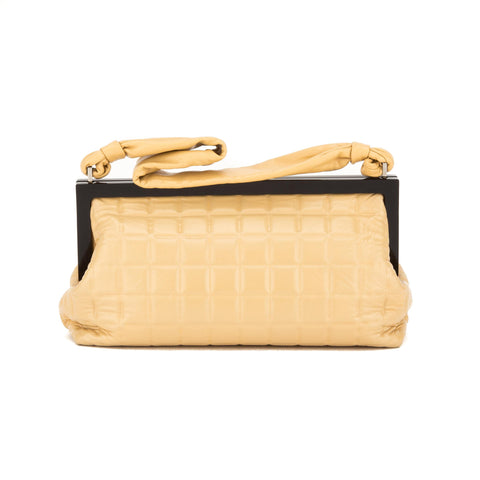 Chanel Tan Lambskin Chocolate Bar Quilted Frame Bag (Authentic Pre Owned)