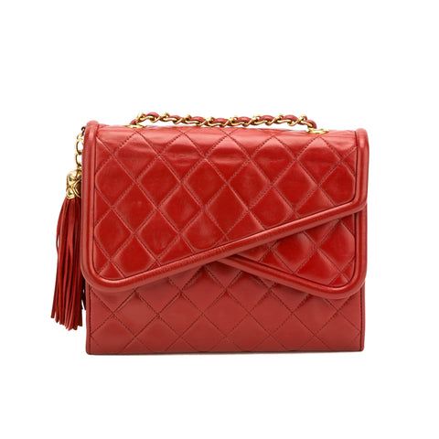 Chanel Red Lambskin Tassel Fringe Bag (Authentic Pre Owned)
