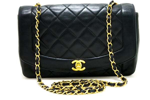 Chanel Black Quilted Lambskin Diana Flap (SHB-10128)
