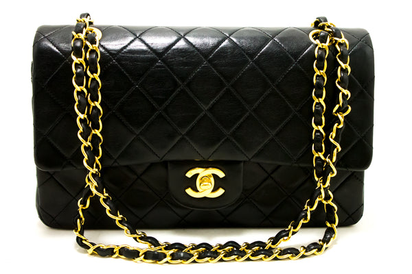 Chanel Black Quilted Lambskin Leather 2.55 Double Flap Chain Bag (SHB-10095)