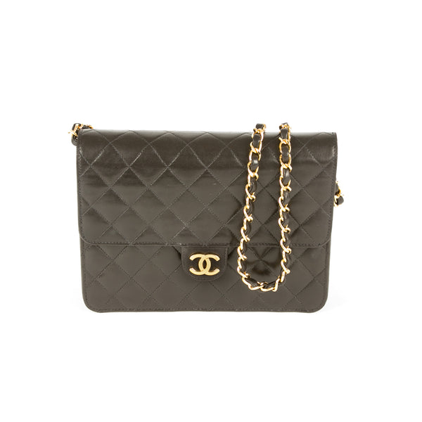 aa22c7acb5 Chanel Black Quilted Lambskin Classic Flap Bag (Authentic Pre Owned ...
