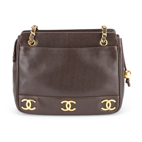 Chanel Brown Calfskin CC Tote (Authentic Pre Owned)