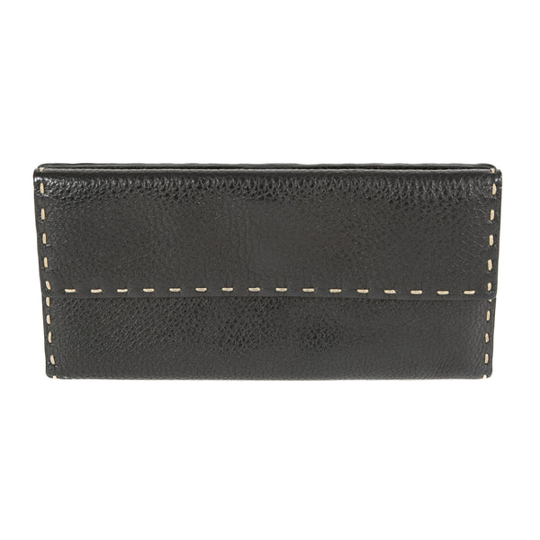 Fendi Black Trifold Selleria Leather Wallet (Pre Owned)