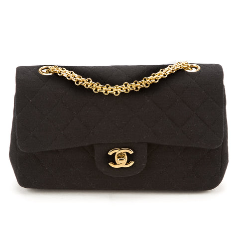 Chanel Black Cloth Double Flap Bag (Authentic Pre Owned)